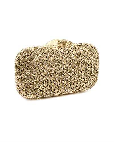 LuxMob Classic Brand New Crystal Evening Clutch with Kiss-Lock Closure