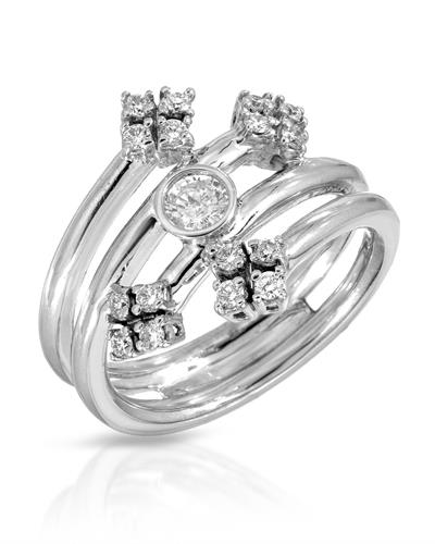 Julius Rappoport Brand New Ring with 0.5ctw of Precious Stones - diamond and diamond ctr 14K White gold