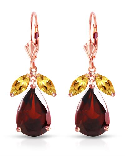 Magnolia Brand New Earring with 13ctw of Precious Stones - citrine and garnet 14K Rose gold
