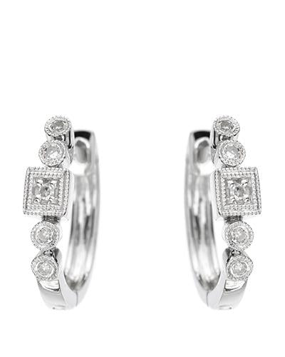 Brand New Earring with 0.07ctw diamond 14K White gold