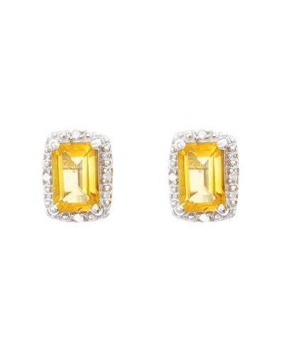 Brand New Earring with 1.12ctw of Precious Stones - citrine and diamond 925 Silver sterling silver