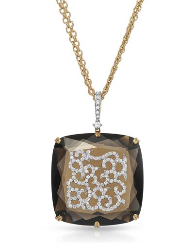 CASATO Brand New Necklace with 64.1ctw of Precious Stones - diamond and quartz 18K Two tone gold