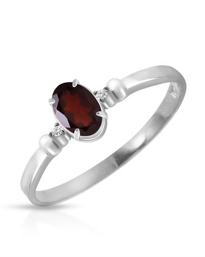 Magnolia Brand New Ring with 0.46ctw of Precious Stones - diamond and garnet 14K White gold