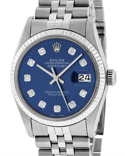 Rolex OYSTER PERPETUAL DATEJUST PreOwned Automatic date Watch with 0.2ctw diamond