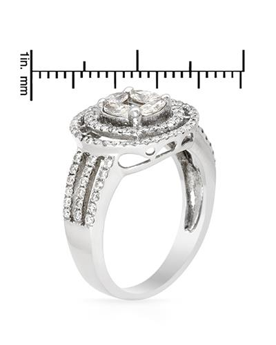 Brand New Ring with 1.08ctw of Precious Stones - diamond and diamond 14K White gold