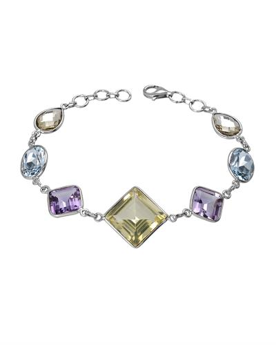 Brand New Bracelet with 33.65ctw of Precious Stones - amethyst, quartz, and topaz 925 Silver sterling silver