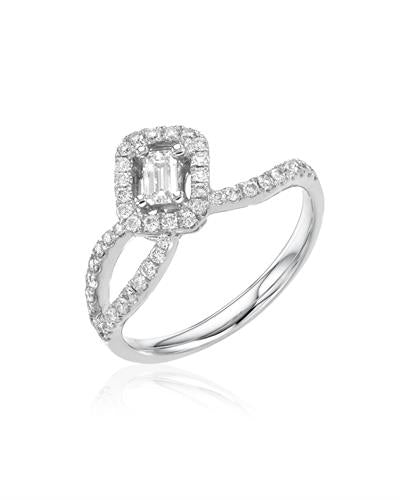 Julius Rappoport Brand New Ring with 0.55ctw of Precious Stones - diamond and diamond ctr 18K White gold