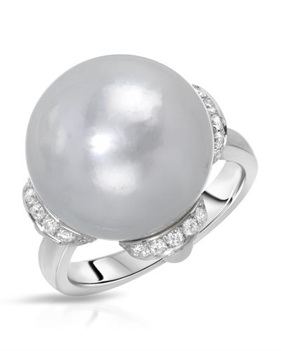 Michael Christoff Brand New Ring with 0.99ctw of Precious Stones - diamond, pearl, and pearl 18K White gold