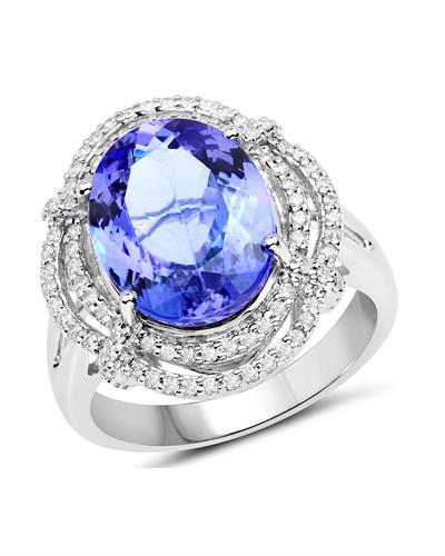 Julius Rappoport Brand New Ring with 6.35ctw of Precious Stones - diamond and tanzanite 14K White gold