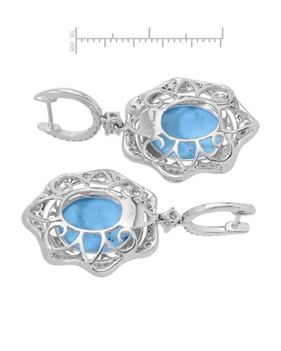 Michael Christoff Brand New Earring with 1.83ctw of Precious Stones - diamond and turquoise 14K White gold