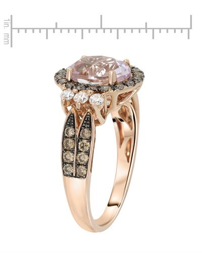 Julius Rappoport Brand New Ring with 3.25ctw of Precious Stones - diamond, diamond, and kunzite 14K Rose gold