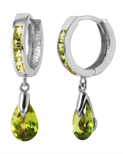 Magnolia Brand New Earring with 3.9ctw peridot 14K White gold