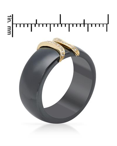 Lundstrom Brand New Ring with 0.08ctw diamond  Black ceramic and 14K Yellow gold