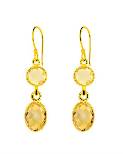 Brand New Earring with 13.45ctw citrine 14K/925 Yellow Gold plated Silver