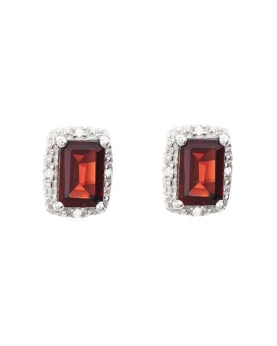 Brand New Earring with 1.42ctw of Precious Stones - diamond and garnet 925 Silver sterling silver