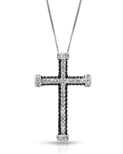 Brand New Necklace with 0.92ctw of Precious Stones - diamond and diamond 10K White gold