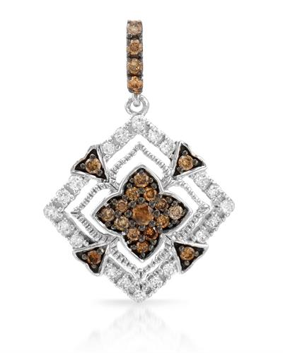 Brand New Pendant with 0.4ctw of Precious Stones - diamond and diamond 14K White gold
