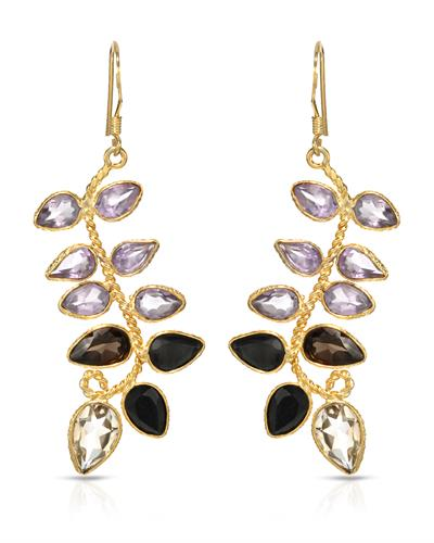 Brand New Earring with 12.25ctw of Precious Stones - amethyst, citrine, sapphire, and topaz 10K/925 Yellow Gold plated Silver