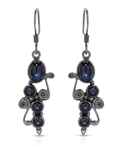 Brand New Earring with 6.3ctw sapphire 925 Black sterling silver