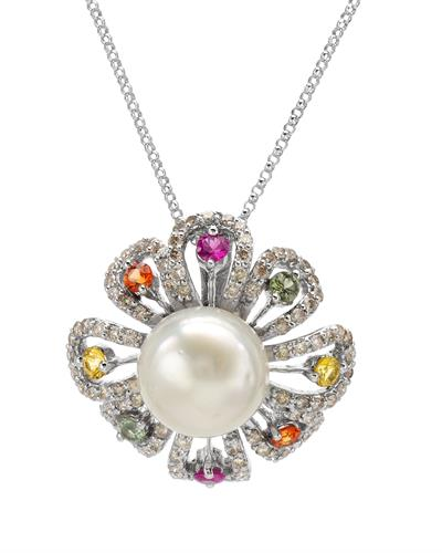 Brand New Necklace with 2.11ctw of Precious Stones - diamond, pearl, and sapphire 14K White gold