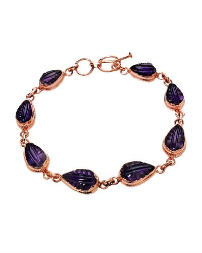 Brand New Bracelet with 16.46ctw amethyst 10K/925 Rose Gold plated Silver