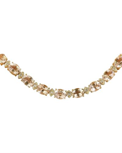 Brand New Necklace with 61.5ctw of Precious Stones - diamond and morganite 14K Yellow gold