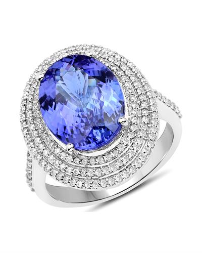 Julius Rappoport Brand New Ring with 6.05ctw of Precious Stones - diamond and tanzanite 14K White gold