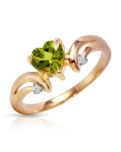 Magnolia Brand New Ring with 1.26ctw of Precious Stones - diamond and peridot 14K Rose gold