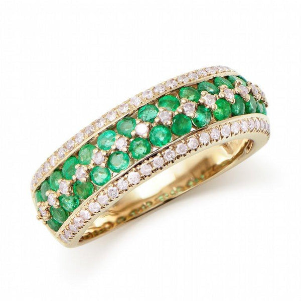 Brand New 1.14ctw Band Ring with Diamonds & Emeralds in 14K Yellow Gold