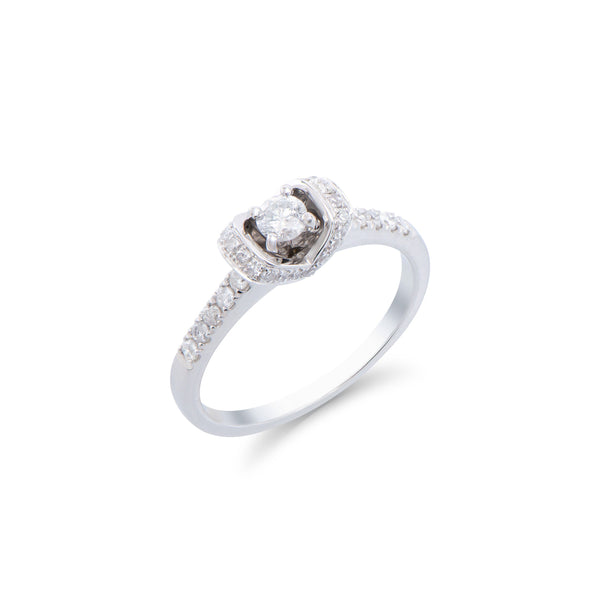 Brand New 0.51ctw Solitaire Ring with Diamonds in 14K White Gold