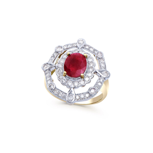 Brand New 2.97ctw Cocktail Ring with Diamonds & Ruby in 14K Yellow Gold