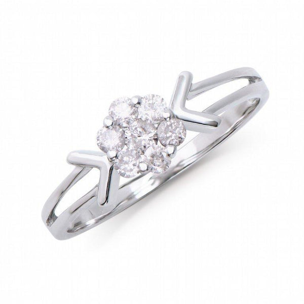 Brand New 0.31ctw Solitaire Ring with Diamonds in 14K White Gold