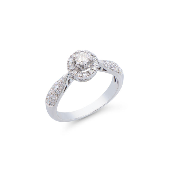 Brand New 0.61ctw Solitaire Ring with Diamonds in 14K White Gold