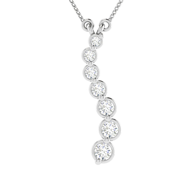 Tanache Brand New Necklace with 0.38ctw Genuine Diamonds in 10K White Gold