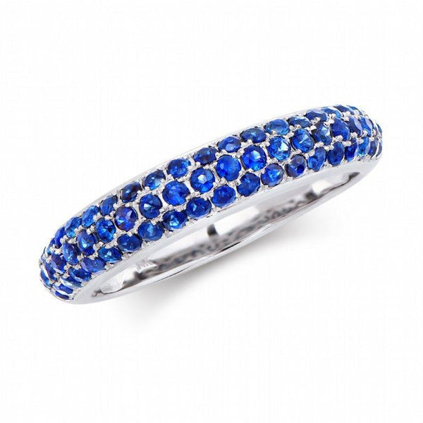 Brand New 1.05ctw Band Ring with Sapphires in 14K White Gold