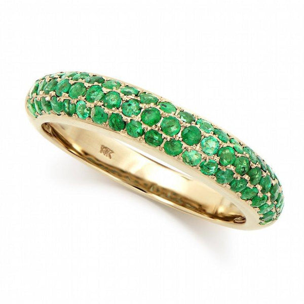 Brand New 0.85ctw Band Ring with Emeralds in 14K Yellow Gold
