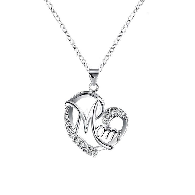 Bedazzled Bijou Brand New Mom Necklace with Cubic Zirconia in 925 Sterling Silver