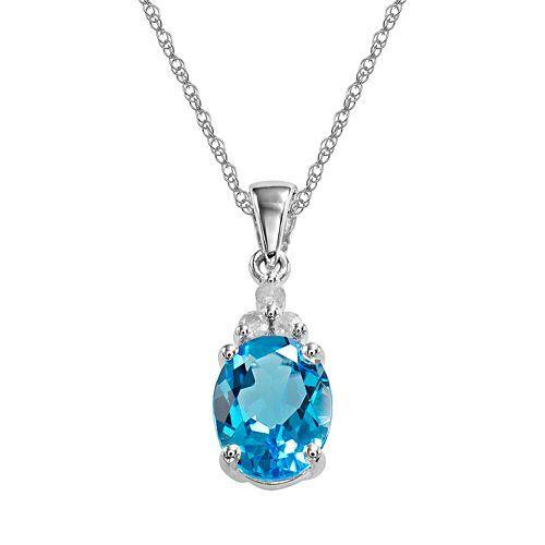 Bedazzled Bijou Brand New Pendant Necklace with Topaz and Diamond in 925 Sterling Silver