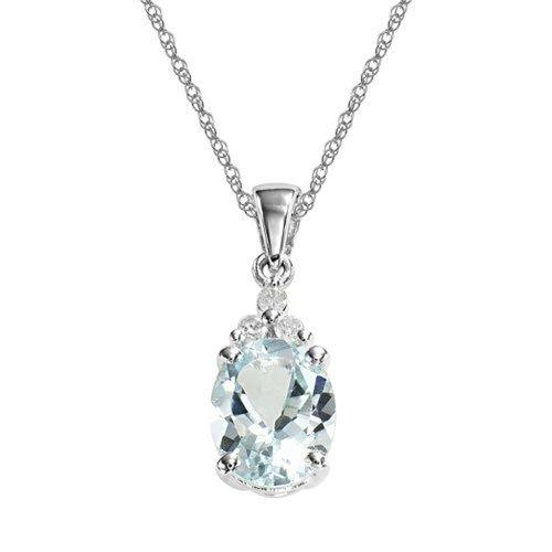 Bedazzled Bijou Brand New Pendant Necklace with Aquamarine and Diamond in 925 Sterling Silver
