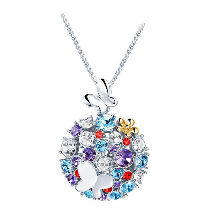 Bedazzled Bijou Brand New Butterfly Necklace with Multi-Gems in 18K Gold Plated Silver
