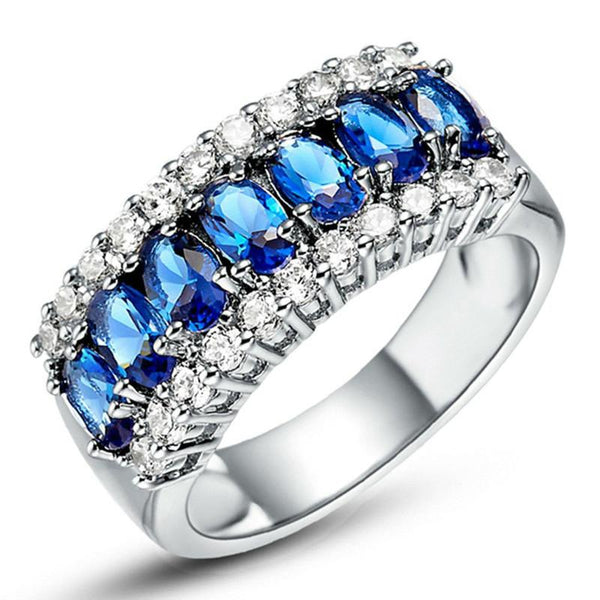 Bedazzled Bijou Brand New Cocktail Ring with Sapphire in 18K Gold Plated Silver
