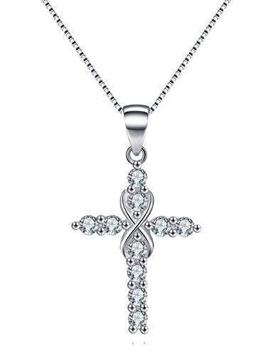 Bedazzled Bijou Brand New Love Cross Infinity Necklace with Cubic Zirconia in 925 Sterling Silver
