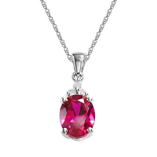 Bedazzled Bijou Brand New Pendant Necklace with Ruby and Diamond in 925 Sterling Silver