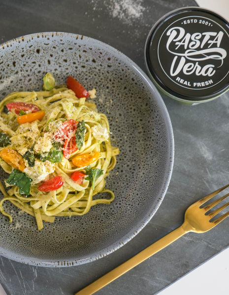 Fettuccine with pesto, feta & cherry tomatoes