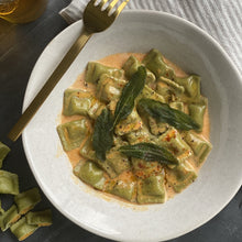Load image into Gallery viewer, Vegan Hemp Pumpkin & Ricotta Ravioli 400g