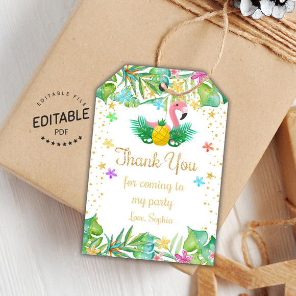 Flamingo birthday favor tags