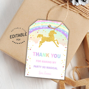 Unicorn birthday favor tags
