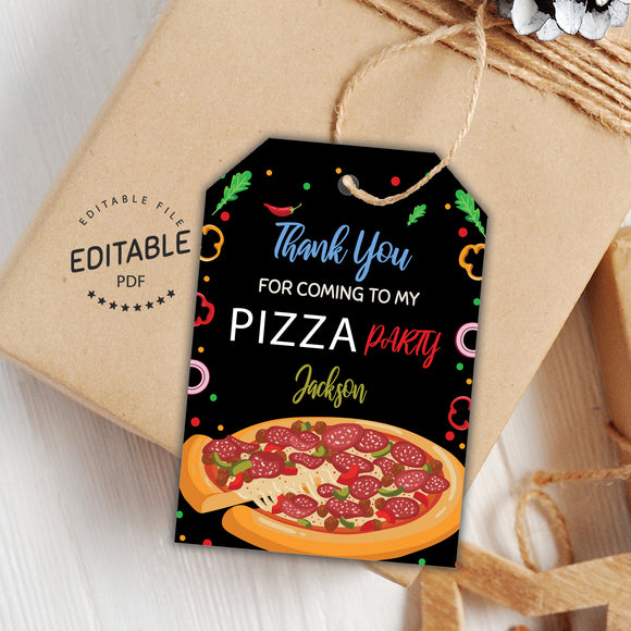 Pizza birthday favor tags