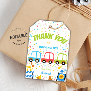 Drive by birthday favor tags