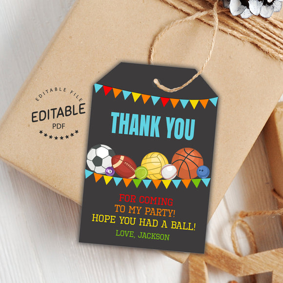 Sports birthday favor tags